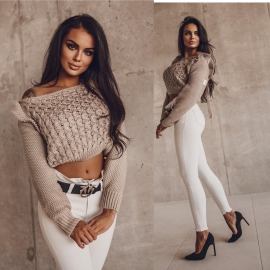 SWETER FRILL BEŻOWY
