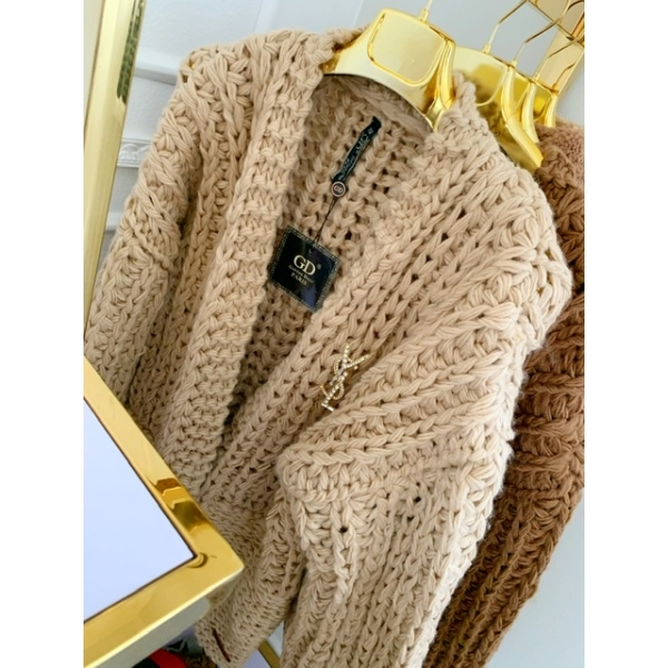 SWETER HAND NAME LUXURY BEŻOWY